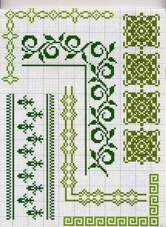 Şerit kenar işleme Crochet Lace Edging, Crochet Chart, Cross Stitch Borders, Cross Stitch Kits, Cross Stitch Designs, Cross Stitching, Cross Stitch Patterns, Cross Stitch Embroidery, Loom Beading