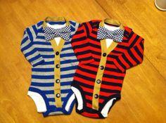 Baby Boys Matching Cardigan Onesie and Bowtie Sets, Twin Boy Outfits, Baby Cardigan Onesie and Bowtie set,