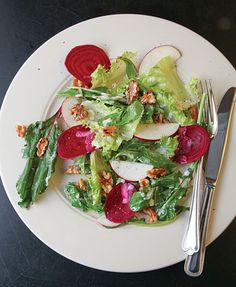 Winter Salad with Buttermilk Dressing Recipe - Saveur.com   Looks like a pretty (and light) starter for a holiday dinner.