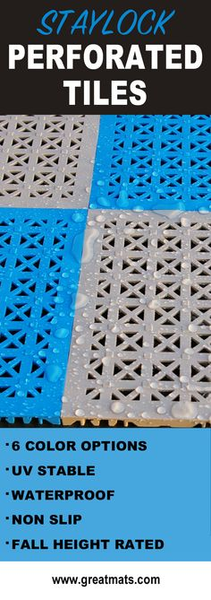 Stay lock Perforated Tiles are the perfect solution for wet areas such as pool decks, patios and even low level playgrounds. Deck Flooring, Outdoor Flooring, Flooring Tiles, Above Ground Pool, In Ground Pools, Deck Tile, Outdoor Tiles, Outdoor Decking, Deck Patio