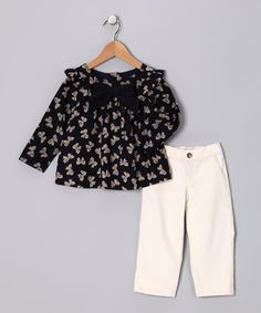 Navy bow top  Corduroy pants