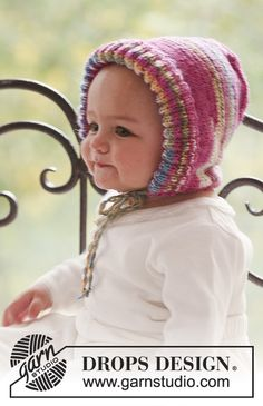 Baby Knitting Patterns Hat Little Miss / DROPS Baby – Knitted hood for babies and children in DROPS … Baby Knitting Patterns, Free Knitting, Crochet Patterns, Bonnet Crochet, Crochet Beanie, Knit Crochet, Crochet Hats, Drops Design, Bonnet Pattern