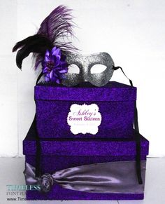 sweet 16 masquerade ball centerpieces | Sweet 16 Card Boxes | Timeless Event Planning