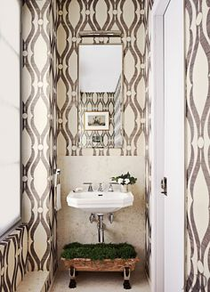 Great minds think alike: When we were wondering if wallpaper in the bath was the next big thing, pinners were right there with us. Pinterest reports that people are especially interested in removable styles for a quick update. The powder room in a Timothy Whealon–designed Monte Carlo residence boasts Phillip Jeffries wallpaper.