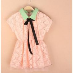 Luciana Lace Ruffle Vintage inspired dress for toddler girls. Peach Pink with mint collar. By Vindie Baby