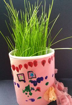 bb98f6e7c Personal plants. The children planted grass seeds in styrofoam cups. I  taped a construction