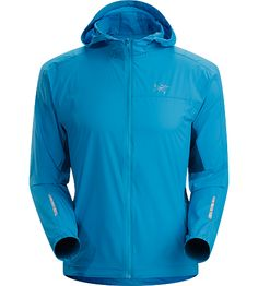 $150 / Incendo Hoody Men's Trim-fitting, minimalist running jacket with hood, constructed with water-resistant fabric in the body and sleeves. Ideal for high output activities