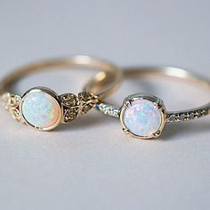rubies.work/… While we're on the subject, here are our two Australian Opal beauties side by side. Our Edwardian inspired ring with Yellow Australian Diamonds and our Else Secret Diamond ring with a gorgeous 5mm white Opal. ✨ both rings are Recycled 14k Gold and handcrafted here in freezing cold NYC.