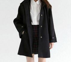 Korean fashion - white blouse, plaid skirt and black trench coat - awesome Korean fashion - white blouse, plaid skirt and black trench coat... by http://www.redfashiontrends.us/korean-fashion/korean-fashion-white-blouse-plaid-skirt-and-black-trench-coat/