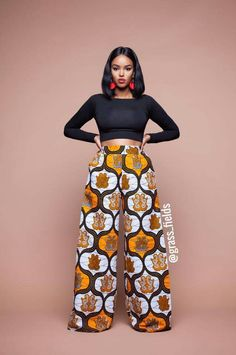 Feel awesome wearing Grass-fields African print pants, made from brilliant African fabric sourced from Cameroon. African Fashion Ankara, Ghanaian Fashion, African Inspired Fashion, Latest African Fashion Dresses, African Dresses For Women, African Print Fashion, Africa Fashion, African Attire, African Wear
