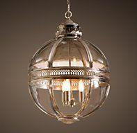 Victorian Hotel Pendant Polished Nickel - - pendant lighting - - by Restoration Hardware Victorian Pendant Lighting, Lantern Pendant Lighting, Foyer Lighting, Kitchen Pendant Lighting, Lighting Ideas, Pendant Lights, Victorian Chandelier, Table Lighting, Industrial Lighting
