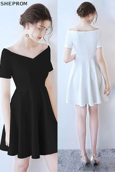 OFF, Little White Off Shoulder Short Homecoming Dress with Sleeves - Vestidos Grad Dresses, Trendy Dresses, Elegant Dresses, Homecoming Dresses, Sexy Dresses, Dress Outfits, Nice Dresses, Casual Dresses, Short Dresses