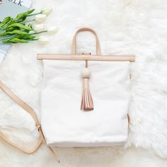 Genuine Leather Canvas Bag/Backpack w Wooden Ball 100% genuine leather. Measurements 25x12.5x31 cm. Very beautiful bag and the leather is very soft!! Acne Bags Backpacks