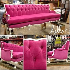 A 7 foot pink tufted sofa. This really happened. #gorgeous #pink #furniture #antique #chic #ufab #ufabulous