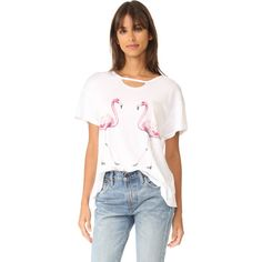 Wildfox Two Flamingos Tee (4,270 INR) ❤ liked on Polyvore featuring tops, t-shirts, ripped tee, destroyed t shirt, slouchy t shirt, slouchy tee and cotton jersey