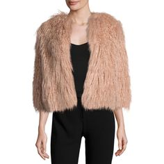 Theory Elstana 2 Cody Faux-Fur Coat ($455) ❤ liked on Polyvore featuring outerwear, coats, lotus, imitation fur coats, cropped faux fur coat, theory coat, collarless coat and fake fur coats