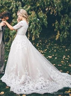 Vintage Beaded Lace Applique A Line Wedding Dressses With Illusion Half Sleeves 2017 Modest Chapel Train Ivory Tulle Plus Size Bridal Gowns Wedding Dresses Under 200 Wedding Gown Rental From Flodo, $130.58| Dhgate.Com #weddingdresses
