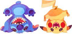Stitch (Lilo and Stitch) and Pikachu. | When 10 Disney Characters Met Pokémon
