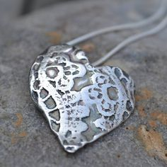 Silver lace heart necklaace by  muriel & lily