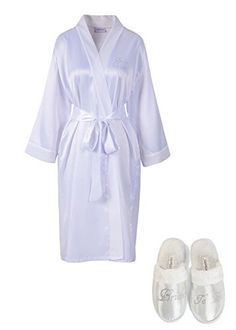 White Rhinestone Bride To Be Satin Bridal Dressing Gown & Spa Slipper wedding Personalised hen party gift set:   Is the big day coming up? Or your friends? Do you need something to wear while preparing for the special day? Or are you having a spa day hen party? If so, then you cant go without our customized bridal satin bathrobes & spa slippers. The bridal name is designed and manufactured here in the UK using high quality machine cut glass crystals. Small crystal The bride on the fron...