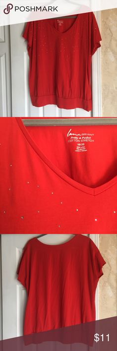 Red embellished tee Size 18/20 , red Lane Bryant cotton stretch tee, with scattered rhinestones across top of shirt Lane Bryant Tops Tees - Short Sleeve