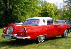 1956 Ford Thunderbird with Continental spare - my Mom owned this exact model Thunderbird, except it was hot pink.