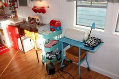 Craft Trailer, My 1960 Streamline travel trailer turned stationary CRAFT TRAILER STUDIO!, vintage typewriter cart to hold my Cricut cutting ...
