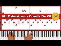 ♫ ORIGINAL+VOCAL - How To Play Cruella De Vil 101 Dalmatians Piano Tutorial Lesson! - PGN Piano - YouTube