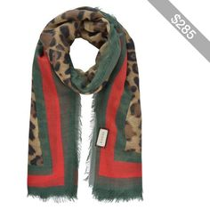 589a290b38d Gucci Leopard Web Trim Scarf Dier Afdruk Sjaal, Sjaal, Dress Up, Groene  Sjaals