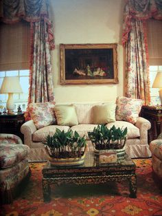 Love the chintz draperies, pillows, chair upholstery - Brooke Astor's NY home