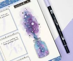 12 Galaxy and Space Themed Bullet Journal Spread - - Plu - 12 Galaxy and Space Themed Bullet Journal Spread - Looking for Inspiration on your latest Bullet Journal theme? Here are 12 Out of this world galaxy and space themed bullet journal spreads Bullet Journal 2020, Bullet Journal Notebook, Bullet Journal Aesthetic, Bullet Journal Inspo, Bullet Journal Spread, Bullet Journal Ideas Pages, Bullet Journal Layout, Bullet Journals, Bullet Journal Numbers