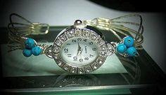 6 Wire TurquoiseNDiamonds Watch Bracelet by BobsFashionJewelry, $39.95