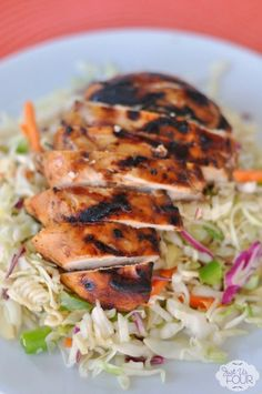 Sticky chicken is the perfect topping for a salad or dish to serve at your next BBQ! Pinned 2k+