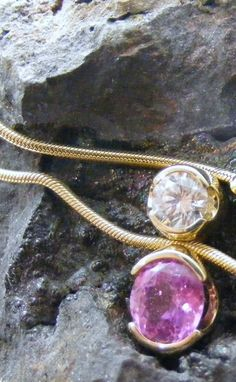 Pink sapphire and diamond necklace image