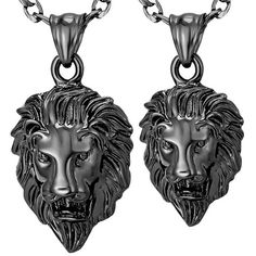 Big Lion Head Pendant Necklace Animal Black Gun Plated 2 Sizes Wholesale With Figaro Chain Male Gift