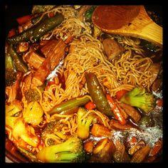 Beef teriyaki stir fry w Asian veggies and tofu shirataki noodles!
