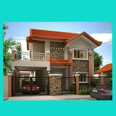 2 storey house with garage and balcón 2 Storey House Design, Bungalow House Design, Modern Bungalow House, Modern Mansion, Dream House Plans, Modern House Plans, House With Balcony, Modern Small House Design, House Construction Plan