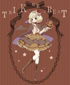 "Anime Halloween girl ""Trick or Treat?"""