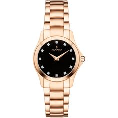 Movado Masion Black Dial Ladies Rose Gold Tone Diamond Watch (78.445 RUB) ❤ liked on Polyvore featuring jewelry, watches, rose gold tone watches, diamond watches, diamond jewellery, movado wrist watch and diamond jewelry