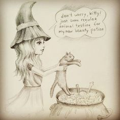 Witch comic Animal Testing Social Art (Drawing by Daria Khanolainen)