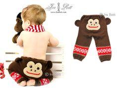 Hecho a mano de punto y ganchillo Mono Pantalones
