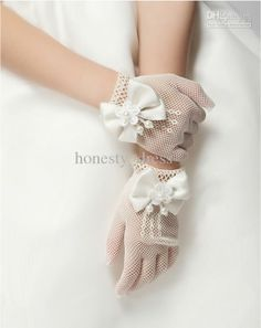 Wholesale Beautiful White Girls Dresses Gloves Beads Appliqued Short Length Bowknot Tulle Girls Accessories, Free shipping, $16.8-35.84/Piece | DHgate