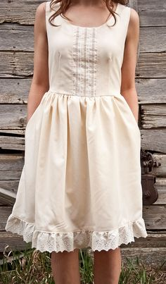 Lace Front Summer Dress Cream by TeakaMarie on Etsy, $125.00