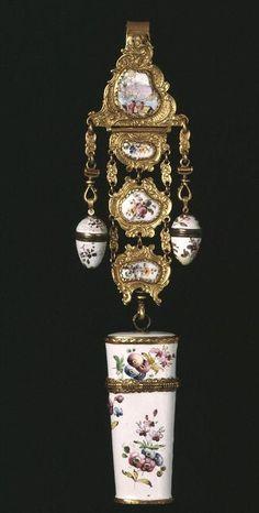 antique Victorian porcelain chatelaine, ca.1755-1765