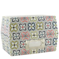 Linear floral index card box