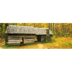Homestead log cabin in a forest Great Smoky Mountains National Park North Carolina USA Canvas Art - Panoramic Images (36 x 12)
