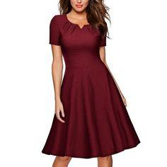 #CHICUU - #CHICUU Vintage Round Neck Rockabilly Short Sleeves Women's Midi Dress - AdoreWe.com
