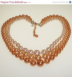 Vintage 1960s Necklace Orange Peach Beaded Multi by 4dollsintime, $23.00