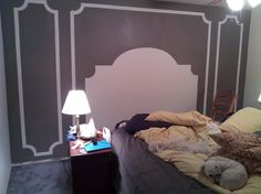 """Easy & cheap for the guest bedroom...""""headboard & panels"""" with paint"""