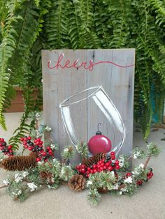 (1) Christmas wine, hand painted Christmas pallet art, Cheers, red Christm – The White Birch Studio